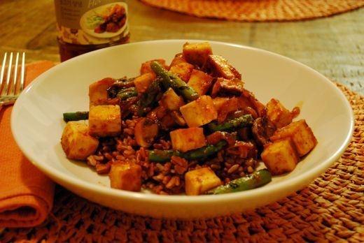 Korean BBQ Tofu with Mushrooms & Asparagus   there is no true recipe ...