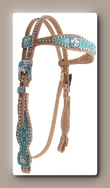 Scalloped Headstall with turquoise croc and Blue Zircon crystals.   $230.00 www.heritagebrand.com