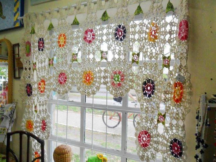 Cortina crochet ganchillo pinterest for Cortinas de gancho para cocina