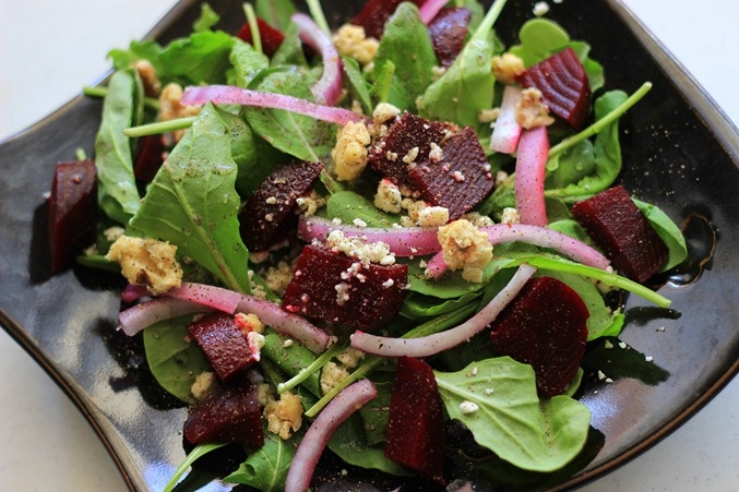 Roasted Beet and Arugula Salad (with candied walnuts and feta cheese)