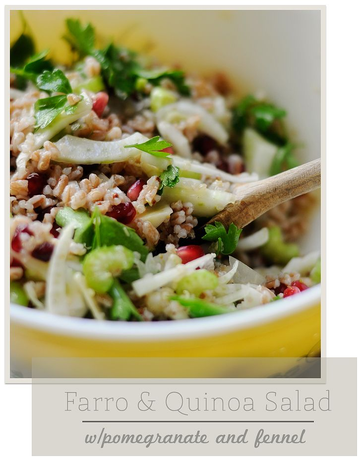 Farro Quinoa Salad with Pom dressing-- great for lunches too, will ...