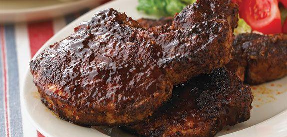 Sandra Lee Chili-Rubbed BBQ Pork Chops- Chili-Rubbed BBQ Pork Chops