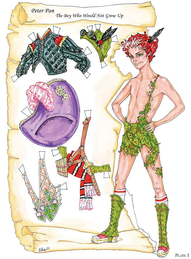 """paper doll: peter pan goes steampunk! awesome goggle hat included!  *from """"peter pan paper dolls"""" by dover"""