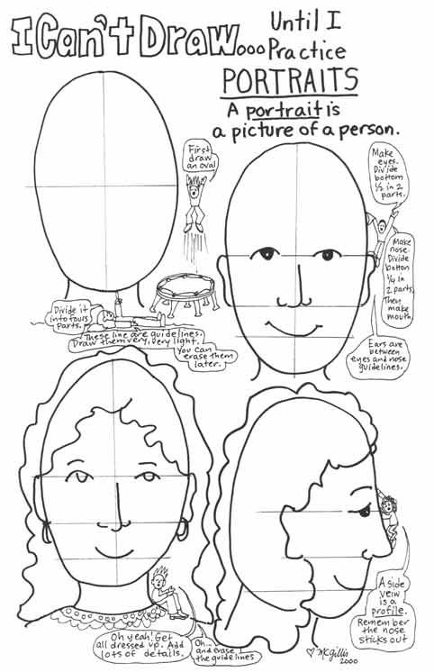 """I Can't Draw People...Until I Practice!""   drawn by M.C. Gillis (awesomeartists.com)  A wonderful, generic lesson for kids about head and facial proportions. . ."