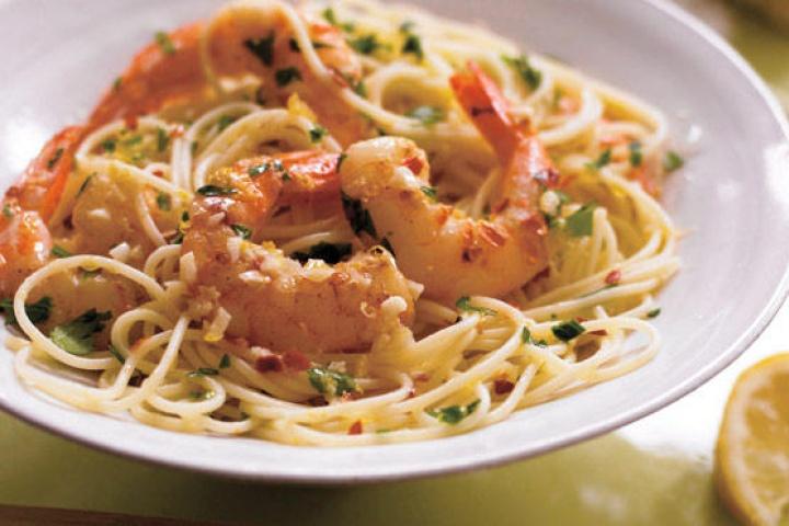 Sauteed Shrimp With Lemon Caper Cream Sauce on Angel Hair Pasta