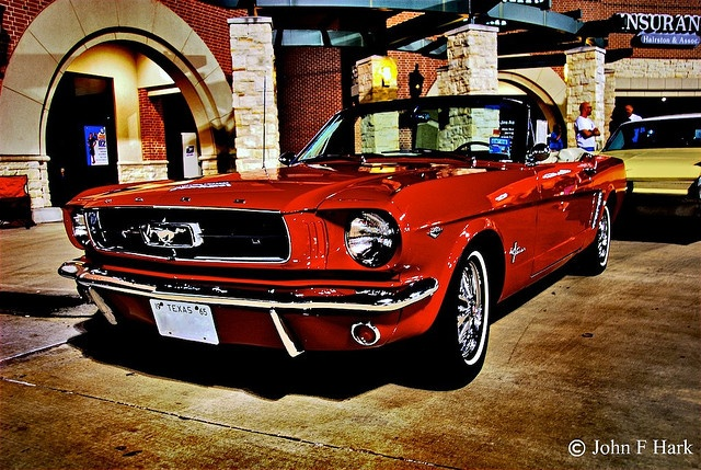 '65 convertible Mustang- candy apple red
