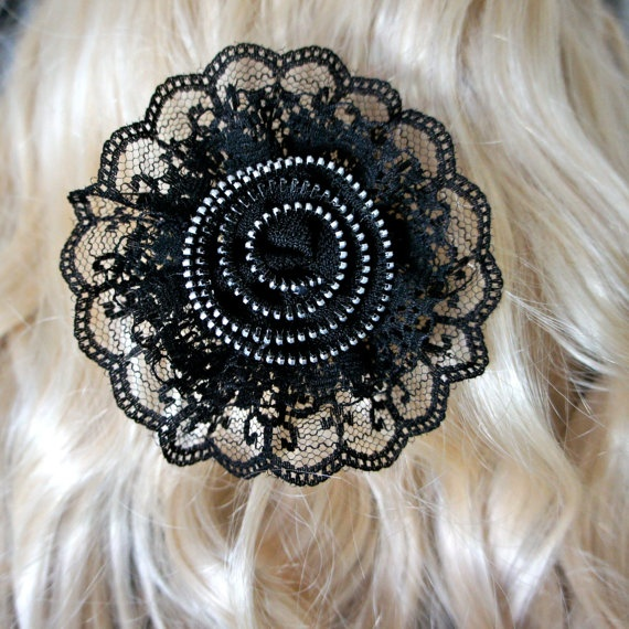 Black Lace Zipper Rose Hair Clip by OnyxOctopusShoppe1 on Etsy, $5.00