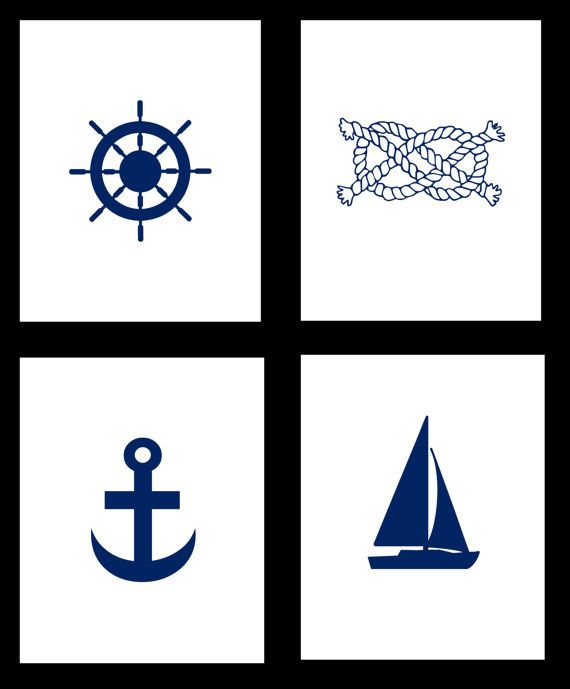 Nautical Print Set - Set of 4 Nautical Art Prints - 8x10