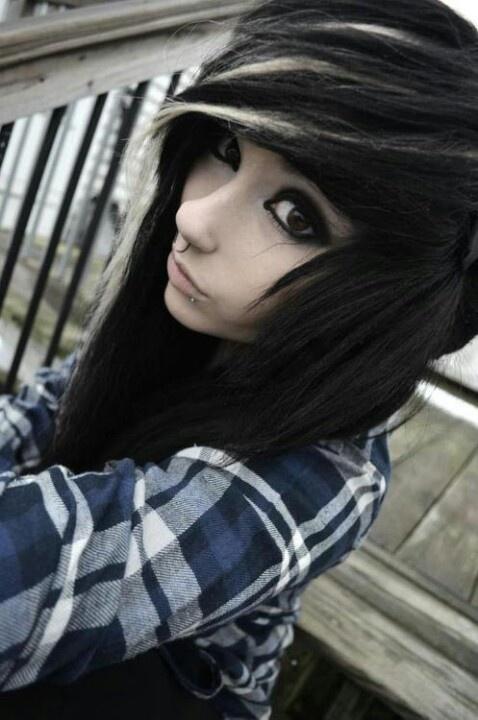 black hair with little white streaks hair �� pinterest