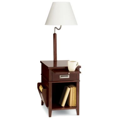 jcpenney home side table with magazine rack and built in lamp found. Black Bedroom Furniture Sets. Home Design Ideas