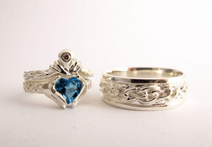 Claddagh Wedding Set Sterling Silver NEW Diamond Garnet Or Bl