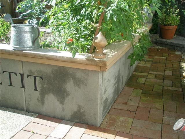 Concrete raised bed backyard design ideas pinterest for Concrete raised garden bed designs