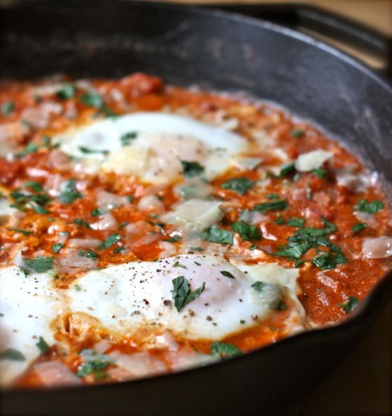 eggs poached in chunky tomato sauce | Foods | Pinterest