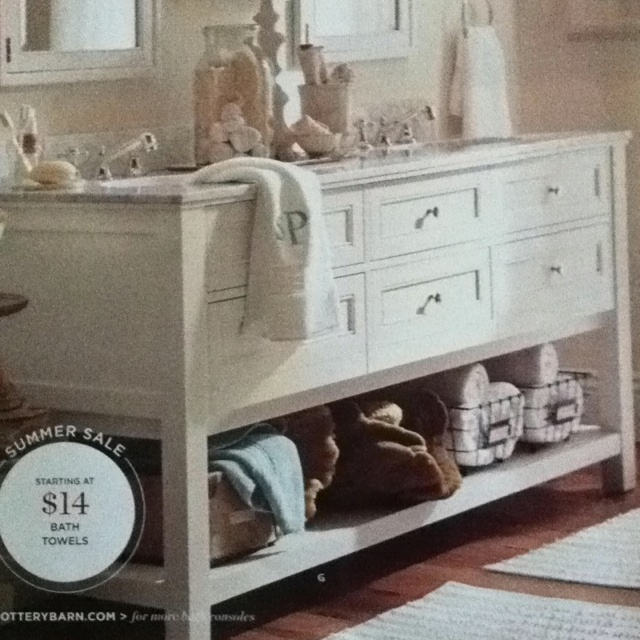 Pottery barn sink and storage Calgon Take Me Away Pinterest