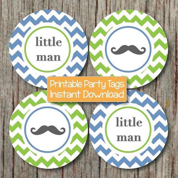 mustache party little man decorations baby shower cupcake toppers fav