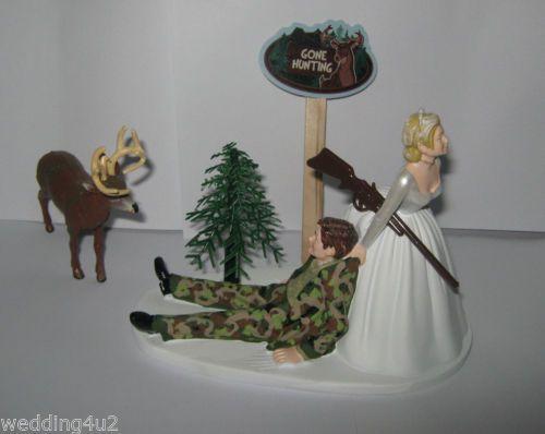 Redneck Wedding Camo Deer Gun Sign Hunter Hunting Cake Topper
