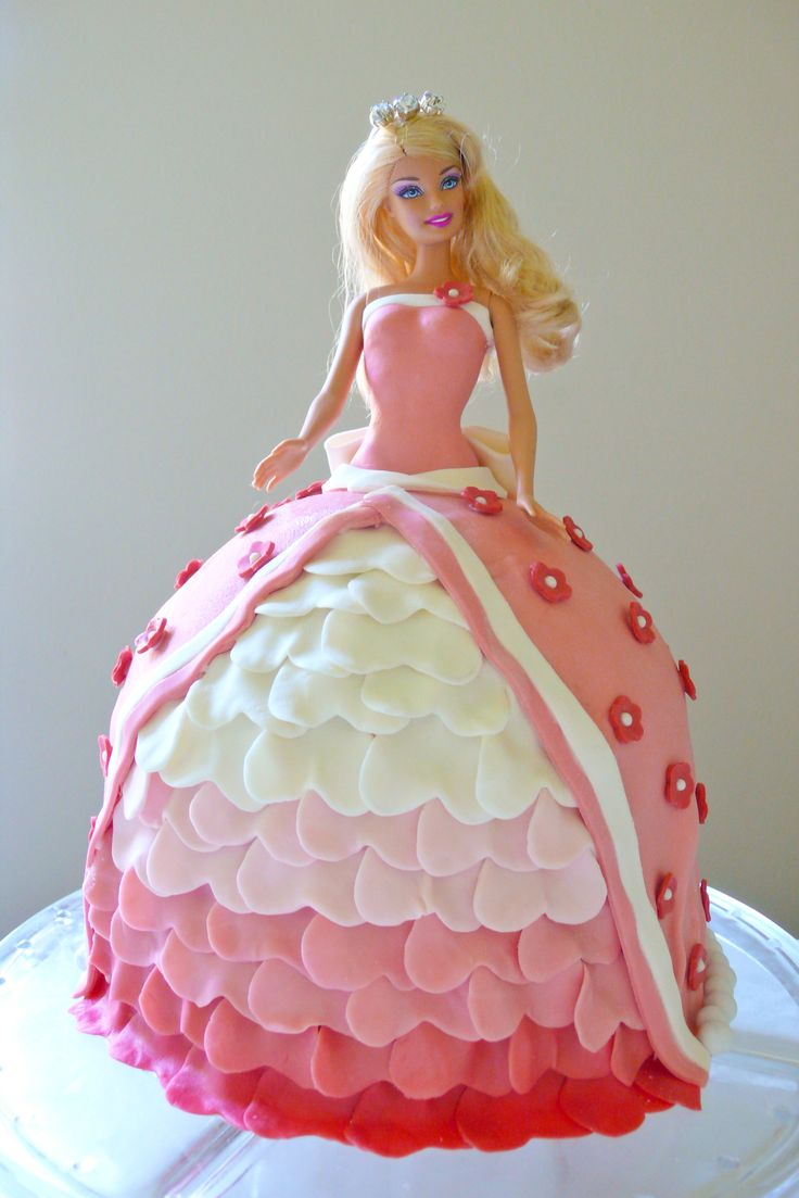 princess barbie cake. pink and white. Princess Party ...