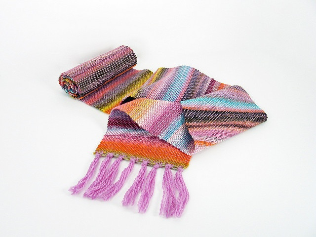 Pretty woven scarf made of Knit Picks Palette and handspun yarn, by Sherie on Ravelry.