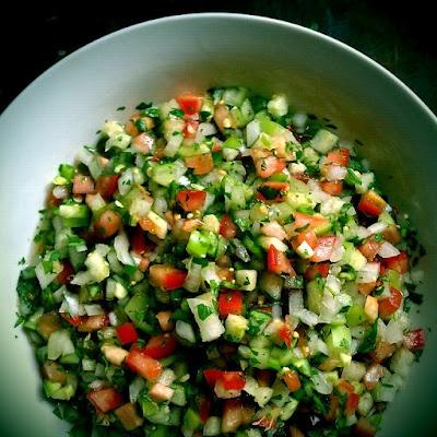"""Salsa de Uña, similar to """"pico de gallo"""" only has both tomatillos a..."""