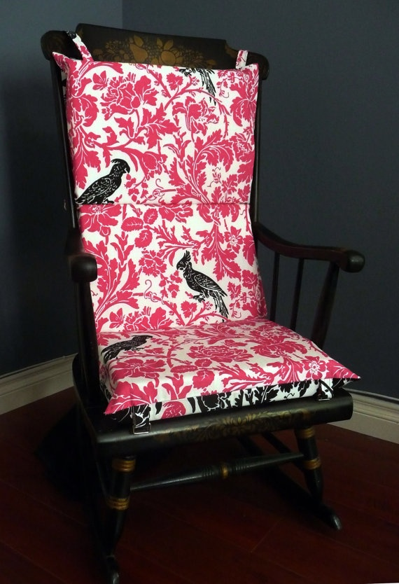 Rocking Chair Cushion Pretty Pink Black Bird by RockinCushions, $75.00