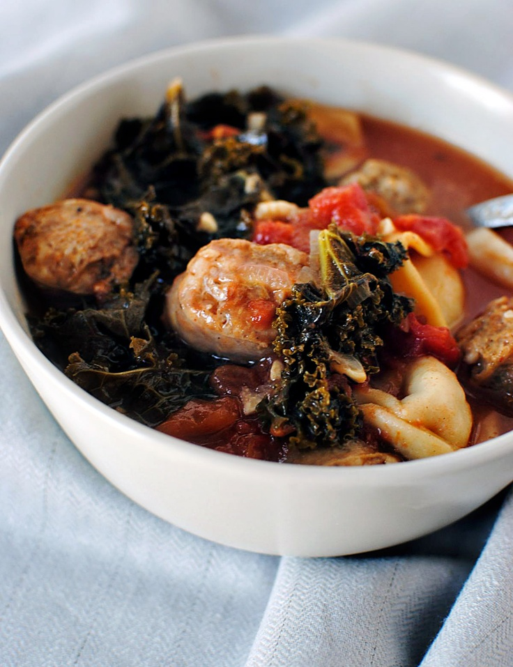Mixed Greens & Sausage Soup with Cornmeal Dumplings