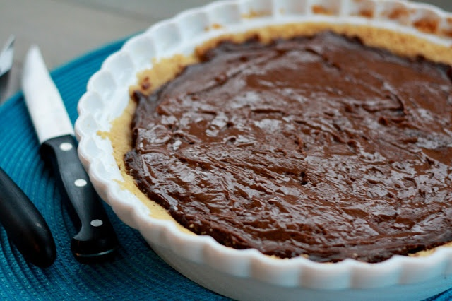 Chocolate Pudding Pie with Peanut Butter Cookie Crust