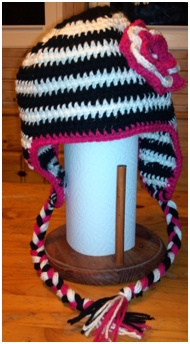 Crocheted Zebra hat with Flower.