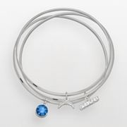 San Diego Chargers Silver Tone Crystal Charm Bangle Bracelet Set