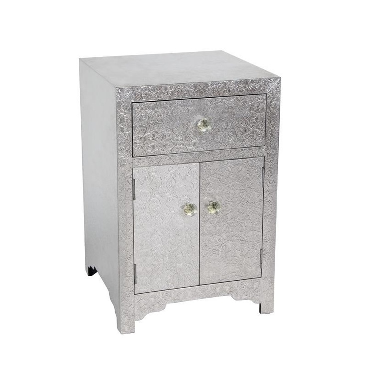Silver Side Tables Bedroom Modern Accent End Table