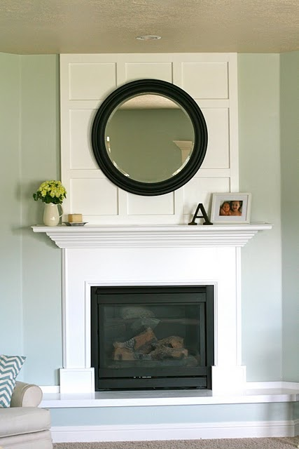 """Board and batten to cover the """"hole"""" above her fireplace."""