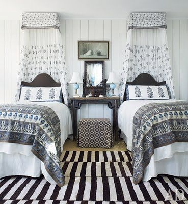 black and white, twin beds, designer Amelia Handegan in AD