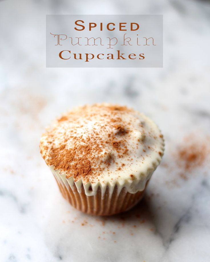 Spiced Pumpkin Cupcakes with Whiskey Cream Cheese Frosting by @pop2va