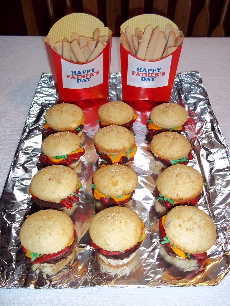 "Fathers Day ""Dinner""...""Cheeseburger"" cupcakes and Sugar cookie ""fries"""