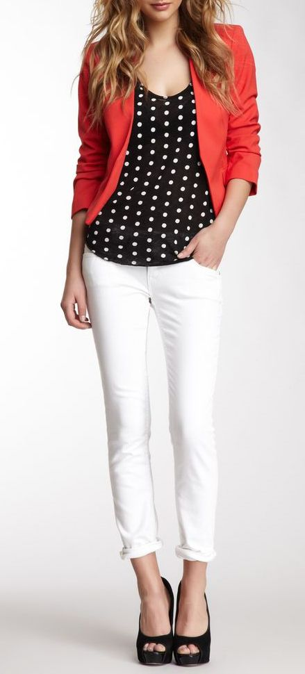 Gotta do this straight to plus look, so cute. Vigoss White Skinny Thompson Tomboy Jean