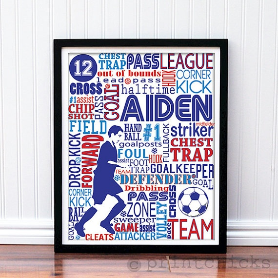Print - Custom Typography Soccer Poster - Custom Sports Decor Poster ...: pinterest.com/pin/161144492890443301