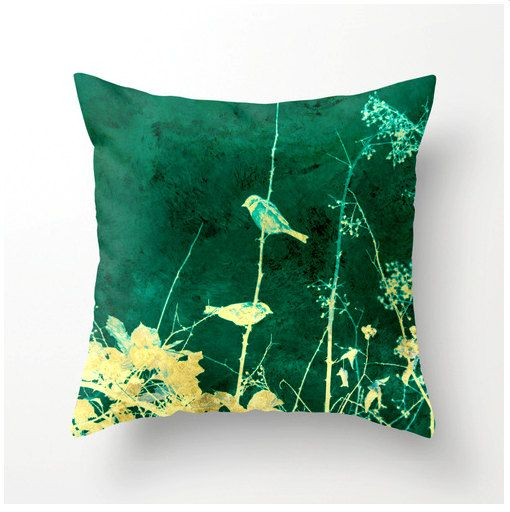 Decorative Throw Pillow Yellow Birds on Vines teal yellow turquoise