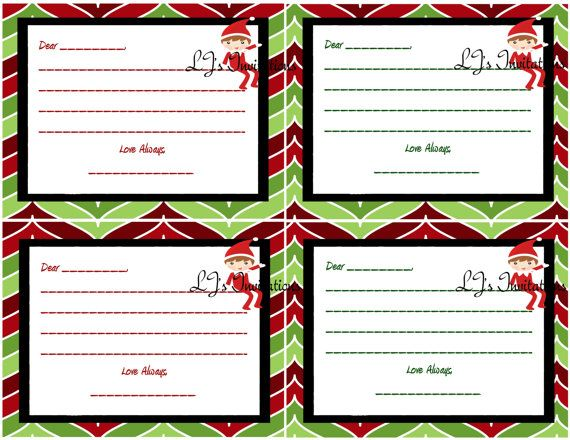 Elf On The Shelf Boy Inspired Elf Note Cards by LJsInvitations, $2.00
