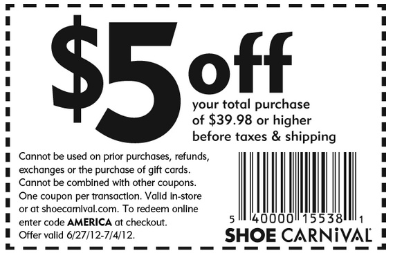 Shoe Carnival: $5 off $39.98 Printable Coupon