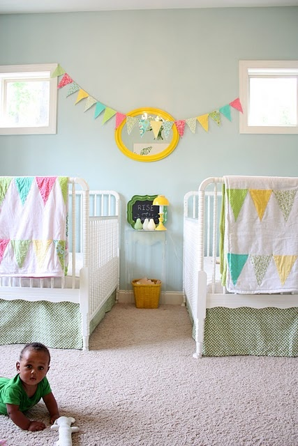 Shared spaces - I wish I could purchase those quilts!  But they are handmade!  I need a twin and a full!  Colors, quilt, not too themey. Laundry basket between