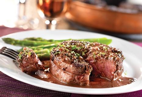 Peppercorn-Seasoned Steaks with Mustard-Wine Sauce | Recipe