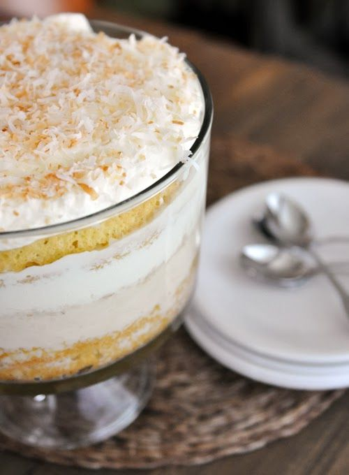 Coconut Tres Leches Cake Trifle | F O O D // | Pinterest