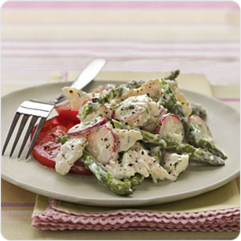 Chicken Salad with Asparagus and Creamy Dill Dressing | Better For You