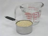 quinoa...here's the conversion. Use 1/4 the amount of dry quinoa ...