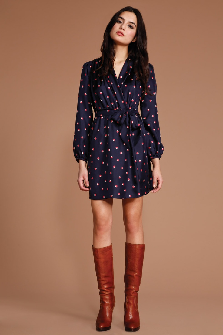wrap dress with boots for the fall closet