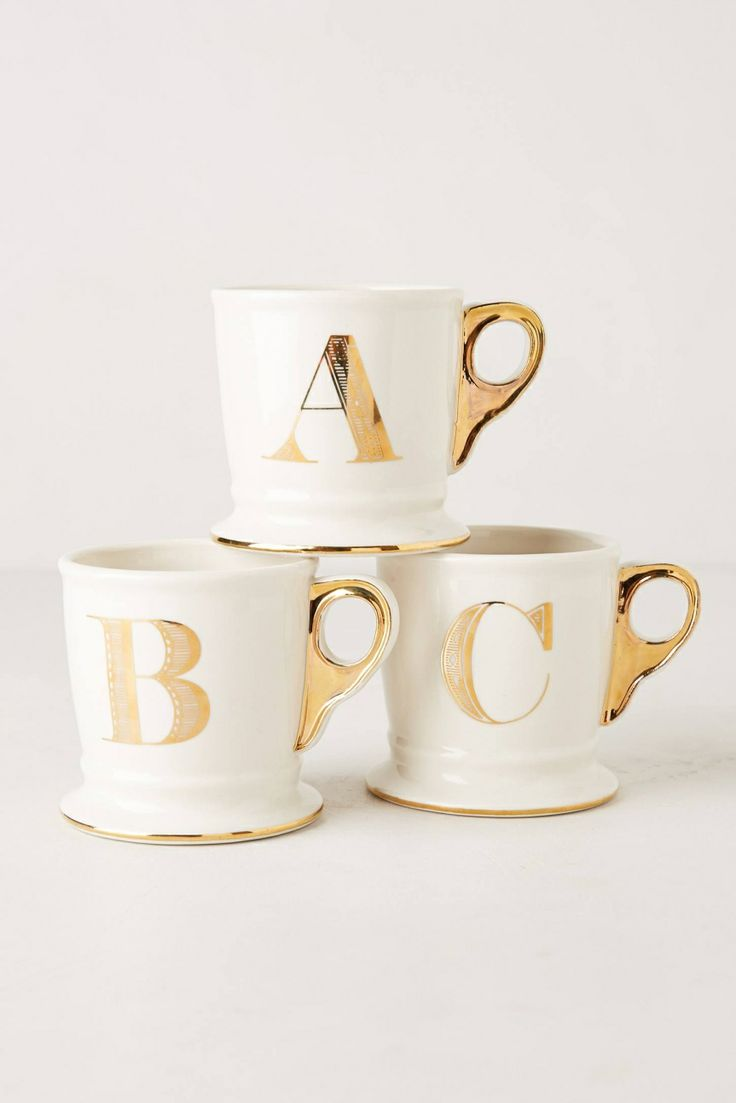 Anthropologie monogram mug coffee cups pinterest for Monogram letters for cups