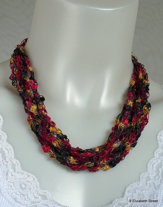 Crochet Necklace crocheted ribbon necklace by 9ElizabethStreet, $12.00