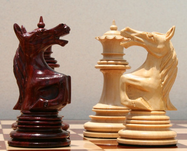 Classic Staunton Set - The Roaring Knight Chess Set: See how the pieces compare and what a beautiful contrast in such a fine chess set!