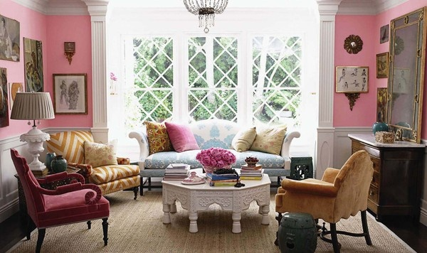 pink living room, white octagonal coffee table  windsor smith
