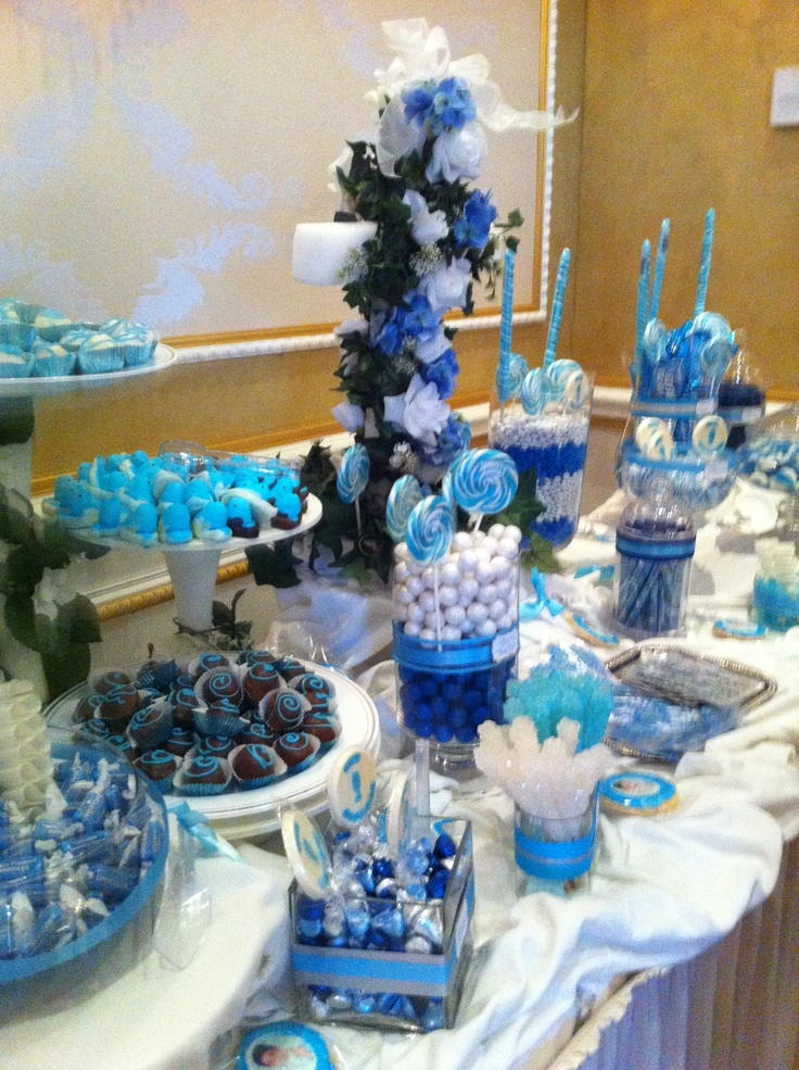 blue candy table future baby shower pinterest