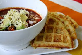 Oven Love: Red Bean Chili and Cheddar Cornmeal Waffles